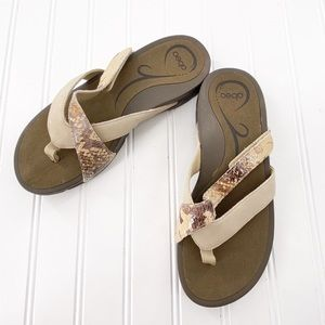 Abeo Amber Sandals Snake Beige Thong size 7